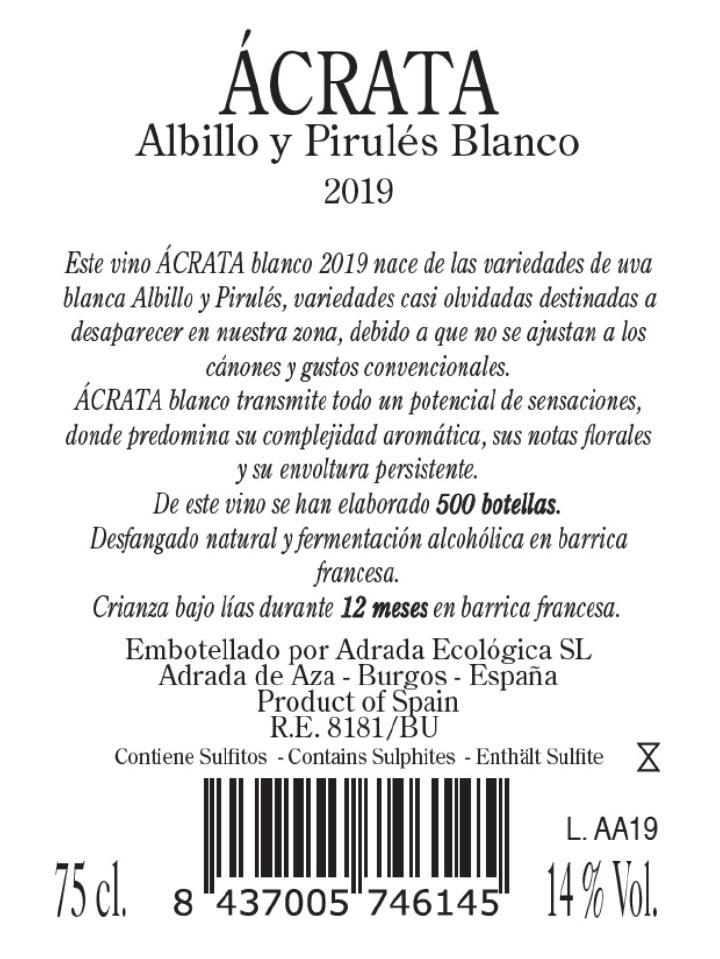 Contraetiqueta Ácrata Albillo Blanco