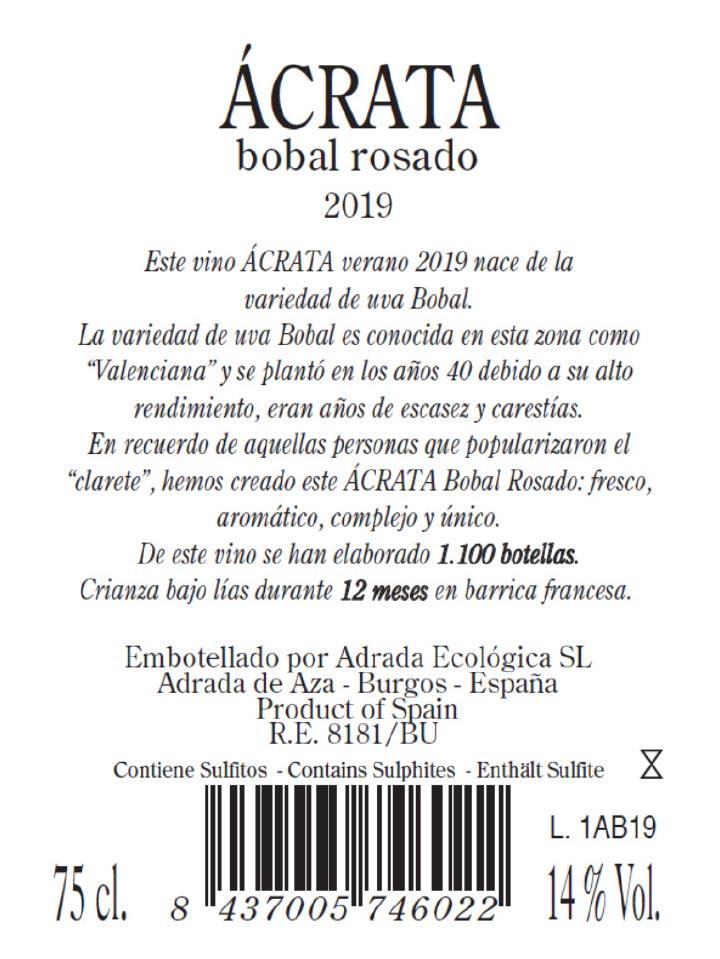 Contraetiqueta Ácrata Bobal Rosado