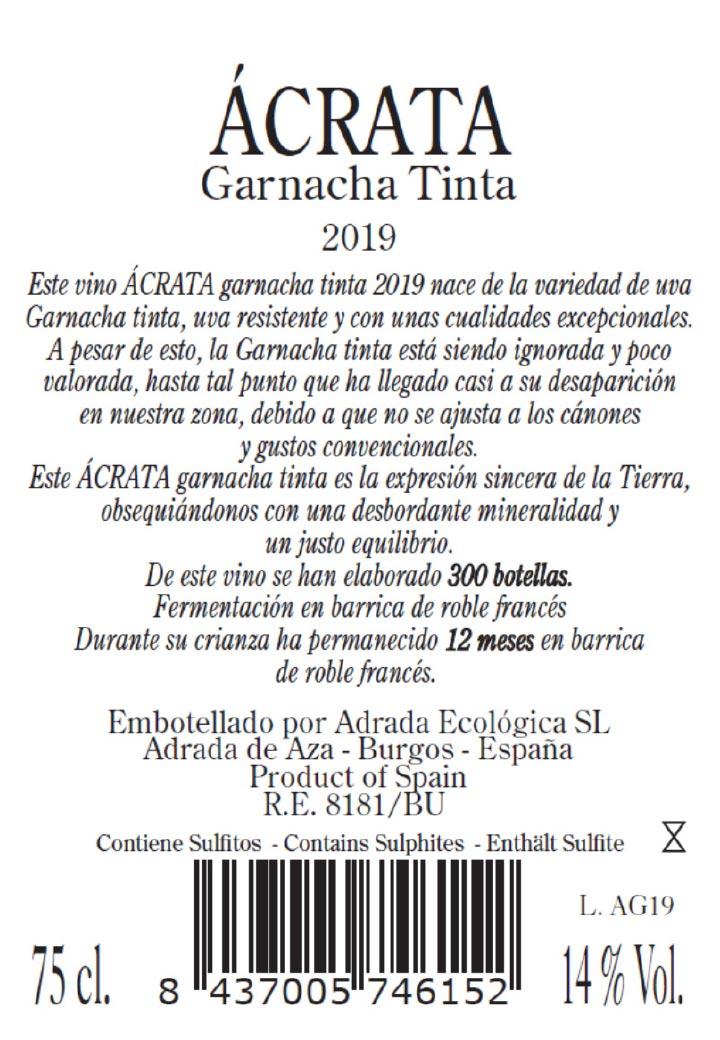 Contraetiqueta Ácrata Garnacha Tinta