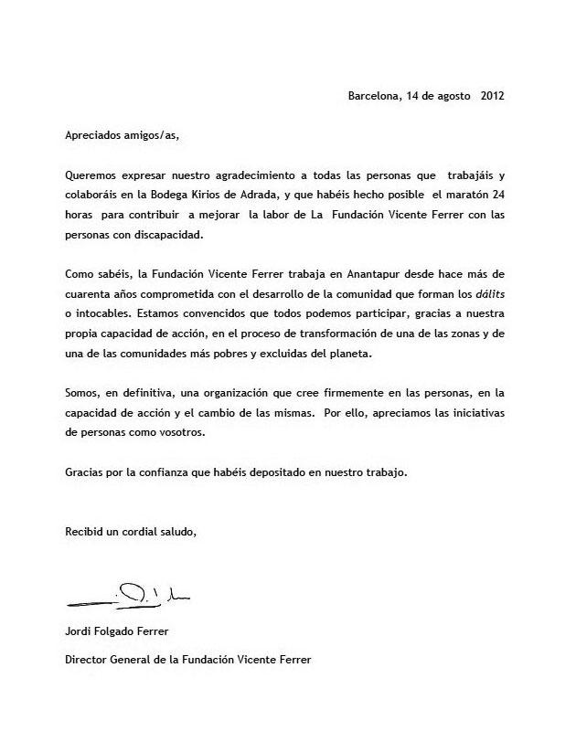 Carta de la Fundación Vicente Ferrer