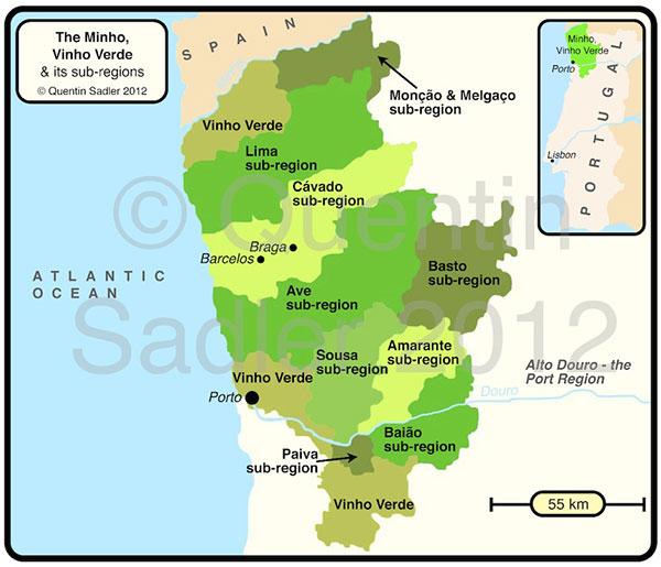 Mapa vinho verde