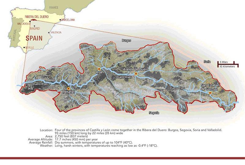 Mapa Ribera del Duero